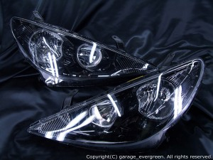 ACR/MCR 30/40 エスティマ 後期 HID車用 限定 インナーブラッククロム 4連白色イカリング&高輝度LED増設20発 仕様