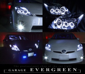 ZVW30系 プリウス 前期 ヘッドライト 純正 LEDロービーム車ベース 6連白色イカリング&増設12連LED 仕様