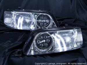 Y33 シーマ ヘッドライト 限定 ハロゲンベース クリスタルバルカン&白色イカリング&増設LED 仕様