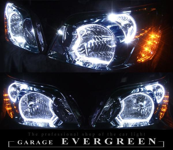 AZR 60G/65G ノア 後期 HID車用 ヘッドライト 純正加工 カスタムLEDライト 白色4連イカリング&高輝度LED増設 仕様