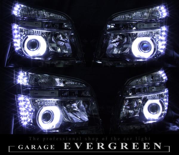 ZRR 70系 VOXY ヴォクシー 後期 HID車用 純正ブラックインナーベース 白色イカリング&増設高輝度LED 仕様
