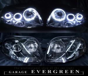 高輝度LEDイカリング6連装 限定色 インナーブラッククロム 仕様 80スープラ 前期 ヘッドライトセット