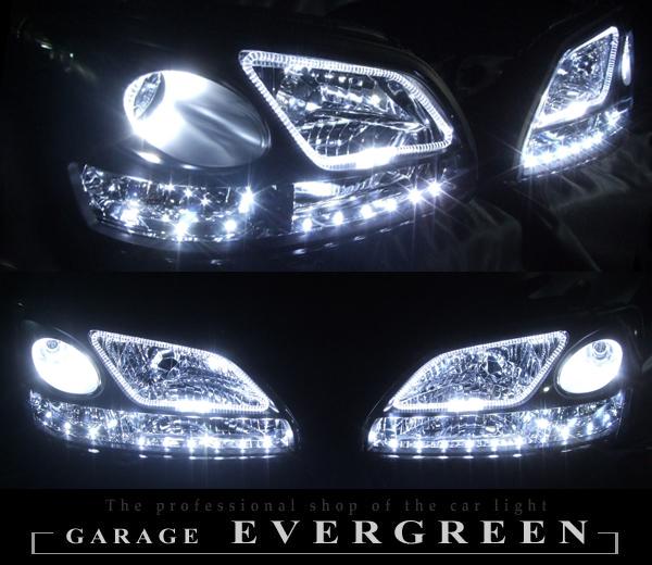 BE/BH/B4 レガシィ 後期D型 クリア ヘッドライトセット 白色4連イカリング&高輝度LED増設18発 仕様