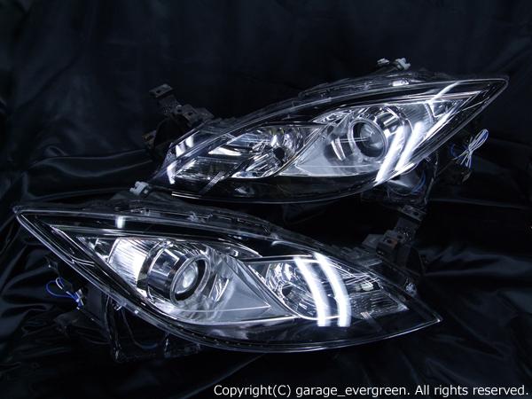 GH系 アテンザ 前期 純正HID車用 純正加工ヘッドライト 左右セット 白色LEDイカリング&側面発光ラインLEDレンズ内増設仕様