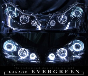 Y50フーガXV 純正加工 ヘッドライト ブラックアウト&6連高輝度イカリング 仕様