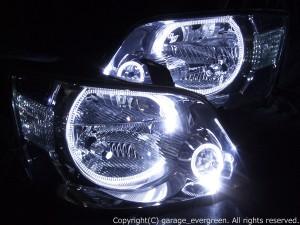 ★60系 ノア前期★白色LEDイカリング4連装仕様 レンズクリーニング・コーティング済み オーダー加工ドレスアップヘッドライト
