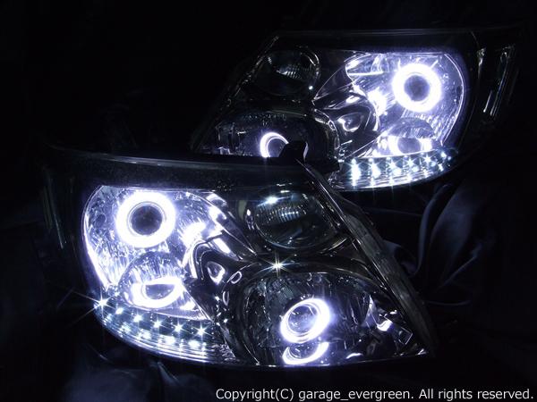 10系アルファード前期 HI/LOW4灯化 ヘッドライト AS/MS スモークメッキ ベース Wプロジェクター移植&4連イカリング&LED&クリア 仕様