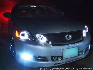 イカリング4連装&増設高輝度LED仕様 純正加工 カスタムヘッドライト GRS19 レクサス GS 前期・後期 LEDヘッドライト