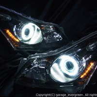 V36スカイライン 前期 セダンベース ヘッドライト 純正HID バーナー・バラスト付 CCFLイカリング&インナーブラッククロム 仕様