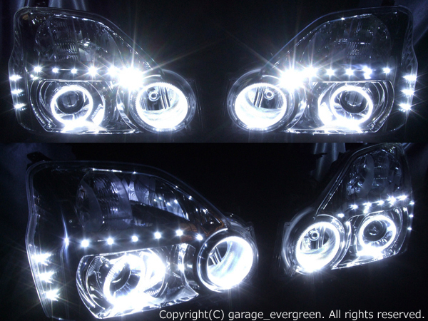 T31系 エクストレイル 前期 X-TRAIL 純正加工 ドレスアップヘッドライト 4連白色イカリング&高輝度LED増設18発 仕様