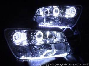 4連白色イカリング クリスタルヘッドライト 増設アンダーラインLED仕様 M35ステージア 後期