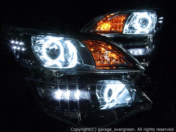 ヴェルファイア 純正ブラックメッキインナー 純正加工 カスタムヘッドライト CCFL4連イカリング&増設高輝度LED 仕様
