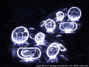F50シーマ 中期/後期 限定商品 ブラッククロム インナー塗装 ブラック&8連白色LEDイカリング ヘッドライト
