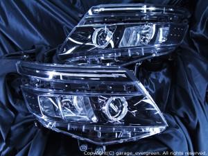 ZRR80系 ヴォクシー 純正LEDロービーム ヘッドライト 純正ラインLEDポジション 白色LED打替え済 LEDイカリング&Hi部間接照明&打替えラインLED