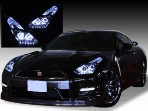 R35 GT-R 前期/中期 純正加工 ドレスアップヘッドライト 4連白色LEDイカリング&増設白色LED仕様