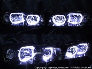 HR34 ER34 ENR34 スカイライン後期/BNR34 GT-R 後期 限定色 インナーブラッククロム 白色LEDイカリング ドレスアップヘッドライト