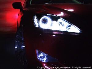 ブラッククロム&イカリング&増設20発LED 仕様 GSE20/21/25 レクサス IS 前期/中期 ドレスアップヘッドライト