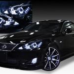 レクサス IS 前期/中期4連LEDイカリング&増設白色LED&ブラッククロム ヘッドライト