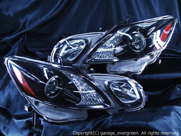 ブラック&イカリング4連装&増設高輝度LED 限定色 インナーブラッククロム 仕様 レクサスGS GRS19 前期/後期 ドレスアップヘッドライト