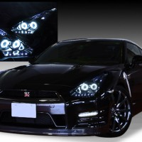 R35 GT-R 前期/中期 ドレスアップヘッドライト 純正加工 バイキセノンプロジェクター インストール ブラッククロム&増設LED&CCFL&プロジェクター 仕様