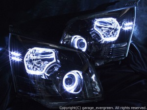 ZRR70/ZRR75 ノア 前期 ドレスアップヘッドライト 限定色 インナーブラッククロム ブラック&白色イカリング&高輝度LED増設 仕様