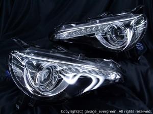 DBA-ZN6 トヨタ 86  HIDヘッドライト 純正加工 ドレスアップヘッドライト ポジションLED打ち換え&イカリング&サイドLED増設