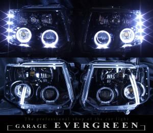 H82W系 eKスポーツ 前期/後期 ドレスアップヘッドライト 限定色 インナーブラッククロム ブラック&4連白色イカリング&高輝度LED増設 仕様