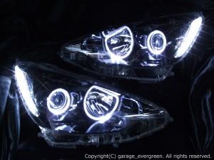 NHP10 アクア 純正ハロゲンロービーム車用 限定色 インナーブラッククロム ブラック&4連イカリング&増設LED ドレスアップヘッドライト