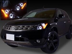 TZ50/PZ50/PNZ50 Z50ムラーノ ドレスアップヘッドライト ブラッククロム&高輝度LED16発&4連イカリング 仕様