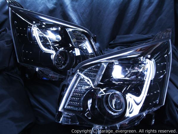 ZRR70/ZRR75 ノア 後期 ドレスアップヘッドライト 限定色 インナーブラッククロム ブラック&白色イカリング&高輝度LED36発増設 仕様