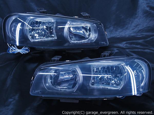 HR34 ER34 ENR34 スカイライン後期/BNR34 GT-R 後期 白色LEDイカリング ドレスアップヘッドライト