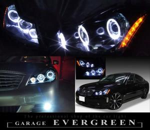 Y50フーガGT ドレスアップヘッドライト 限定 インナーブラッククロム ブラック&6連イカリング&サイドオレンジLED 仕様