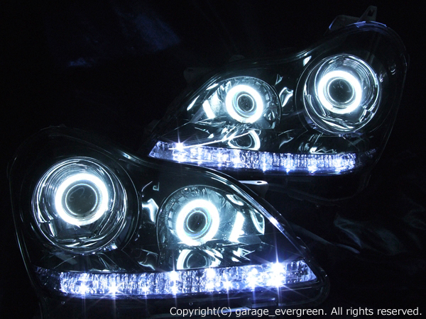 UZS18系 クラウンマジェスタ ヘッドライト 純正加工 バイキセノンプロジェクター インストール ブラッククロム&増設プロジェクター&CCFL&LED仕様