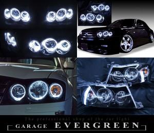 Y34系グロリア 後期 限定色 インナーブラッククロム ブラック&6連LEDイカリング ドレスアップヘッドライト