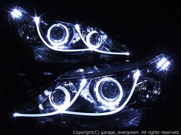 増設プロジェクター&ブラック&ファイバー&イカリング 仕様 限定色 インナーブラッククロム GRX130系 マークX 前期 ドレスアップヘッドライト