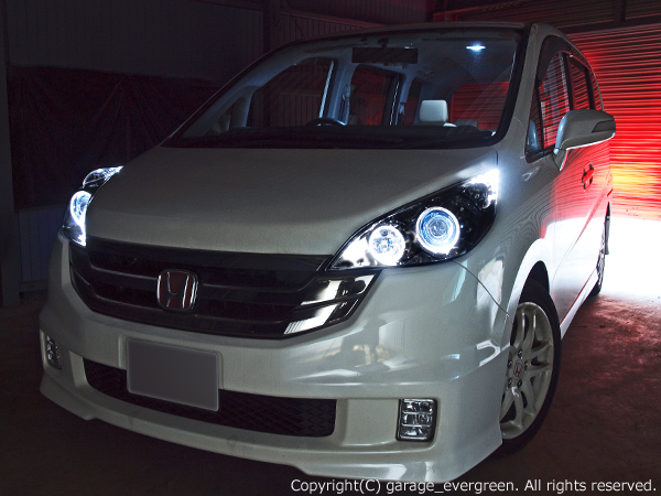 RG系ステップワゴン前期/後期  ドレスアップヘッドライト 限定色 インナーブラッククロム ブラック&イカリング&増設高輝度白色LED 仕様