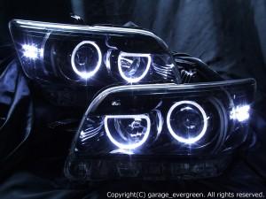 E15系 カローラルミオン 前期/後期 ドレスアップヘッドライト 限定色 インナーブラッククロム 純正HID車用 ブラック&4連イカリング&増設12発LED仕様