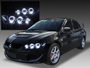 ブラックインナー&LEDイカリング6連装 ドレスアップヘッドライト 限定 インナーブラッククロム 仕様 CT9A ランサー エボリューション Ⅶ Ⅷ Ⅸ