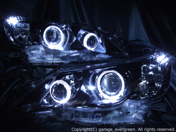 増設プロジェクター&ブラック&イカリング 仕様 限定色 インナーブラッククロム 純正加工品 GRX130系 マークX 前期 ドレスアップヘッドライト