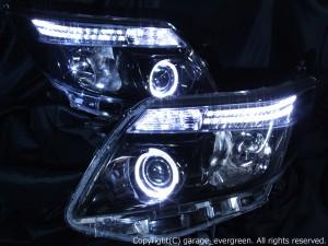 ZRR80G/ZRR85G/ZWR80G ノア 純正LEDロービーム車用 希少 新車外しベース 純正加工品 ポジションLED色替え&ブラッククロム&白色イカリング