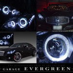 Y51 フーガ/フーガハイブリット Wプロジェクター&ブラッククロム&LEDイカリング ヘッドライト