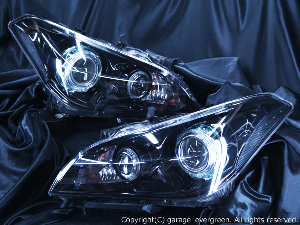 Y51フーガ AFS無しモデル限定 プロジェクター増設 仕様 純正加工品 LEDプロジェクター増設&ブラック&4連イカリング&サイドLED