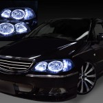 RA6 RA7 RA8 RA9 オデッセイ ブラッククロム&サイド橙/白LED&LEDイカリング ヘッドライト