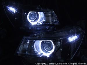スズキ パレット SW / 日産 ルークス ハイウェイスター 限定色 インナーブラッククロム ブラック&2連イカリング&高輝度LED増設 仕様