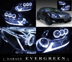 レクサス LS600h 中期 ドレスアップヘッドライト  純正加工品 純正LED色替え&LEDイカリング&サイドマーカーブラック
