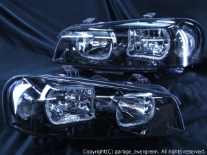 HR34 ER34 ENR34 スカイライン前期/BNR34 GT-R 前期 限定色 インナーブラッククロム LEDイカリング ドレスアップヘッドライト