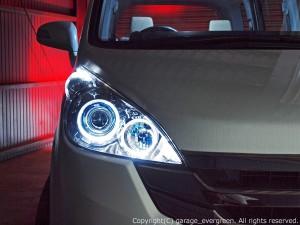 RG1/RG2/RG3/RG4 ステップワゴン ドレスアップヘッドライト スパーダベース インナースモークメッキ 4連イカリング&増設高輝度白色LED 仕様