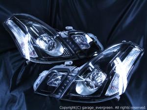 110系マークⅡブリット 後期ベース ドレスアップヘッドライト 純正加工品 ブラッククロム&イカリング4連装&増設LED24発 仕様