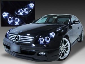 メルセデス・ベンツ W219 CLS350/CLS500/CLS550 純正ディラー車ヘッドライト加工品 6連LEDイカリング&ブラッククロム 仕様