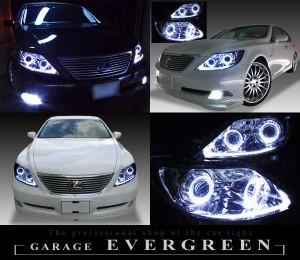 4連イカリング&増設LED&サイドマーカー塗装 限定商品 ブラックサイドマーカー 仕様 レクサス LS460前期 ドレスアップヘッドライト